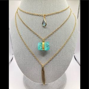 🥰3/$20Sale multistrand feather stone necklace N36